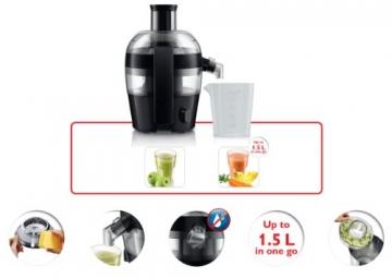 Philips HR1832/00 Viva Collection Entsafter 400 W, kompaktes Design, 1,5 L in einem Durchgang, schnelle Reinigung, schwarz - 7