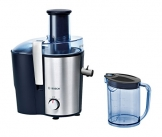 Bosch MES3500 Entsafter VitaJuice 3 700 W, XL-Einfüllschacht, Edelstahl-Microfilter-Sieb, Saftauslauf und Gehäuse aus Edelstahl, Ausgießer mit DripStop, blau / silber -