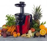 Der OmniJuice Slow Juicer Saftpresse Entsafter mit nur schonenden 43 U/min (maximale Saftausbeute, maximale Vitamine) Rot -