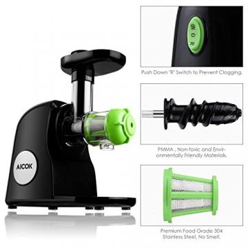 Aicok Slow Juicer Entsafter mit Geringer Lautstärke Leichter Reinigung Reverse Funktion und Maximaler Nährstoffextraktion Inklusive Reinigungsbürste -